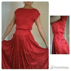 Vintage red silk dress with heart pattern, pleats